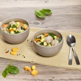 Healthy Spinach Soup with meatball soup Stock Photos