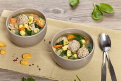 Healthy Spinach Soup with meatball soup Royalty Free Stock Photo