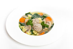 Healthy Spinach Soup With Meatball Soup Stock Photography