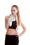 Healthy sport girl drinking water Stock Photography