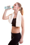Healthy sport girl drinking water Stock Photo