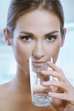 Healthy Sport Woman Drinking Cold Water From Glass Stock Photos