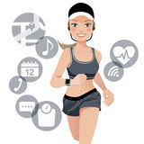 Healthy sport woman with smart watch device Stock Photography