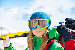 Healthy sportive skier woman Stock Photo