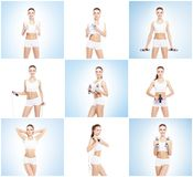 Healthy, sporty and beautiful girl isolated on white background. Woman in a fitness workout collection. Nutrition, diet. Healthy, sporty and beautiful girl Royalty Free Stock Photography