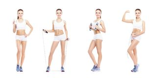 Healthy, sporty and beautiful girl isolated on white background. Woman in a fitness workout collection. Nutrition, diet. Healthy, sporty and beautiful girl royalty free stock images