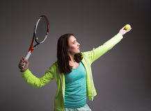 Healthy sporty girl with tennis racket and ball Royalty Free Stock Image
