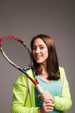 Healthy sporty girl with tennis racket Royalty Free Stock Photo
