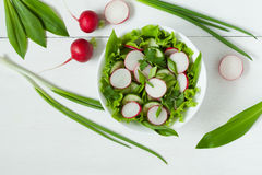 Healthy spring diet salad with raw vegetables Stock Photos