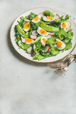 Healthy spring green salad in white plate. Healthy spring green salad with radish, boiled egg, arugula, green pea and mint in white plate over grey marble Stock Photos