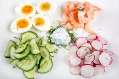 Salad with eggs, cucumber, radishes and shripms Stock Photography