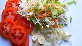 Healthy spring salad. Healthy spring mixed salad ingredients Royalty Free Stock Photo