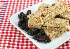 Healthy stack of raisin, nut granola bars. Stock Photography