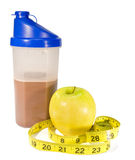 Healthy Start. Healthy protein shake with golden delicious apple Stock Photo