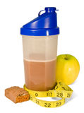 Healthy Start. Healthy protein shake with golden delicious apple and protein bar Stock Image