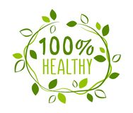 Healthy 100% sticker. Vector illustration for graphic and web design Royalty Free Stock Photo