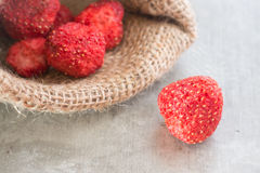 Healthy strawberry crispy on clean background Royalty Free Stock Photo