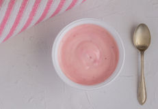 Free Healthy Strawberry Fruit Flavored Yogurt With Natural Coloring I Stock Photography - 98248482
