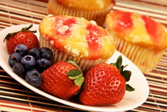 Healthy Strawberry Muffin Desert and Fruit Stock Photography