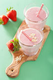 Healthy strawberry oat smoothie Royalty Free Stock Photo