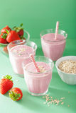 Healthy strawberry oat smoothie Stock Photo