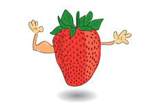 Healthy strawberry showing biceps Royalty Free Stock Images