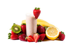 Healthy strawberry smoothie with fruits  isolated Stock Photography