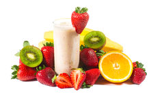 Healthy strawberry smoothie with fruits  isolated Stock Images