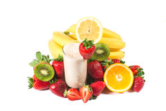 Healthy strawberry smoothie with fruits Royalty Free Stock Image