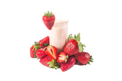 Healthy strawberry smoothie isolated Royalty Free Stock Photo