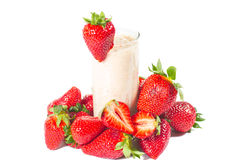 Healthy strawberry smoothie isolated Royalty Free Stock Images