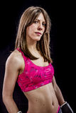 Healthy, strong woman athlete with boxing gloves Royalty Free Stock Image