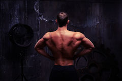 Healthy strong young bodybuilder demonstrating his muscular back Royalty Free Stock Photo
