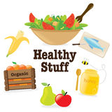 Healthy stuff 1. Illustration of healthy items isolated on white Stock Image