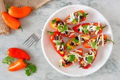 Healthy stuffed mini peppers on a marble plate Royalty Free Stock Images
