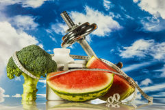 Healthy style with fitness stuff Royalty Free Stock Photography