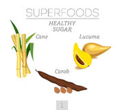 Healthy sugar. Set 1. Sugar cane, lucuma and carob. Vector image Royalty Free Stock Images