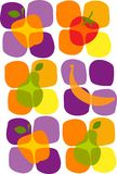 Healthy summer fruit icons Stock Image