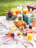 Healthy summer picnic with fruit and croissants Stock Image