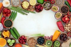 Healthy Superfood Background Border royalty free stock photo