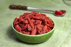 Healthy superfood, red dried goji chinese wolfberry berries, used in many snack foods and supplements, granola bars, yogurt, tea. Blends, fruit juice as whole stock photo