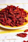 Healthy superfood, red dried goji chinese wolfberry berries, used in many snack foods and supplements, granola bars, yogurt, tea. Blends, fruit juice as whole stock photos