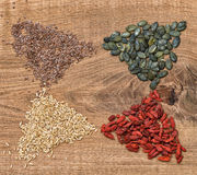 Healthy superfoods Clean eating Detox food Goji berries oats lin Royalty Free Stock Photos