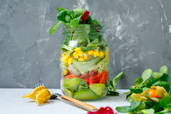 Healthy take-away lunch jar with salmon, Stock Photo