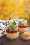 Healthy tapioca pearls pudding dessert with coconut milk and cherry jam. Served in glass jars on vintage chopping board over old wooden table Royalty Free Stock Photo