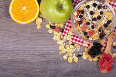 Healthy and tasty food on a wooden background Stock Photo