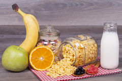 Healthy and tasty food on a wooden background Stock Photos
