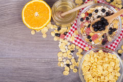 Healthy and tasty food on a wooden background Royalty Free Stock Photo