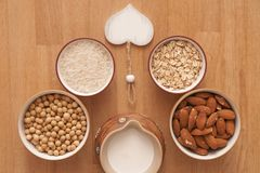 Healthy and tasty. It is image of alternatives ingredients on prepare plant milk Royalty Free Stock Image