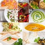 Healthy and tasty Italian food collage Stock Photography